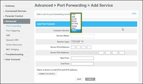 frontier port forwarding